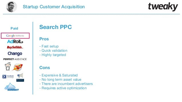 Startup Customer AcquisitionPaidProsCons- Fast setup- Quick validation- Highly targeted- Expensive & Saturated- No long te...
