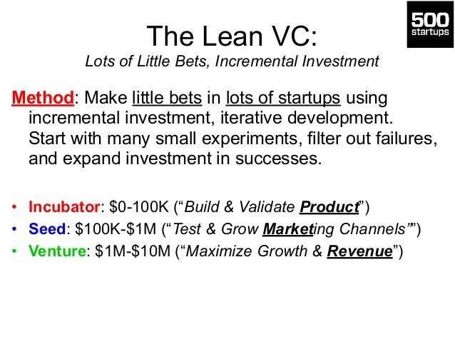 The Lean VC: Lots of Little Bets, Incremental Investment Method: Make little bets in lots of startups using incremental i...