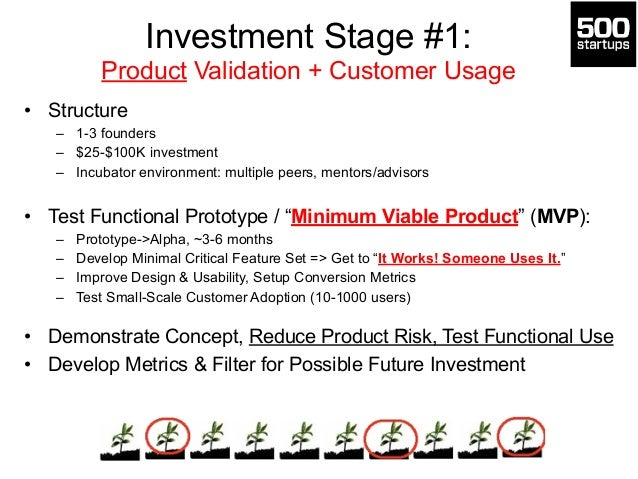 Investment Stage #1:  Product Validation + Customer Usage  • Structure  – 1-3 founders  – $25-$100K investment  – Incubato...