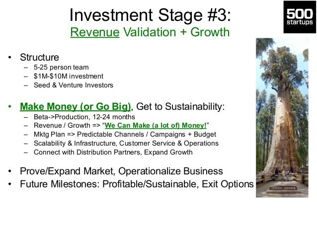 Investment Stage #3:  Revenue Validation + Growth  • Structure  – 5-25 person team  – $1M-$10M investment  – Seed & Ventur...