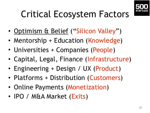 "Critical Ecosystem Factors  • Optimism & Belief (""Silicon Valley"")  • Mentorship + Education (Knowledge)  • Universities +..."