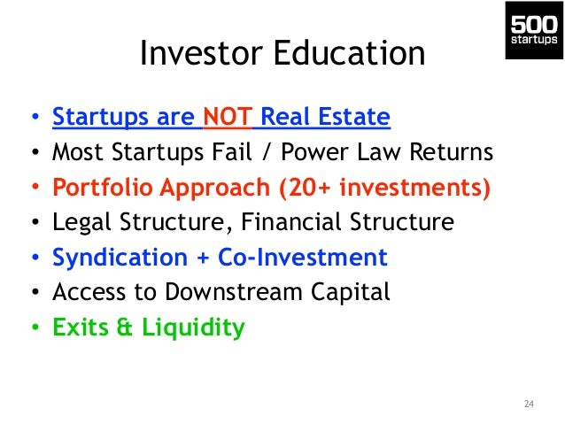 Investor Education  • Startups are NOT Real Estate  • Most Startups Fail / Power Law Returns  • Portfolio Approach (20+ in...