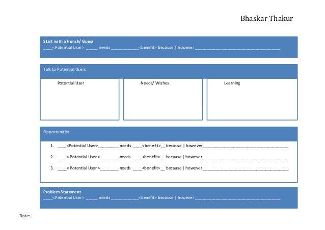 Bhaskar  Thakur   Date:      Start  with  a  Hunch/  Guess   ____<Potential  User>    _____  nee...