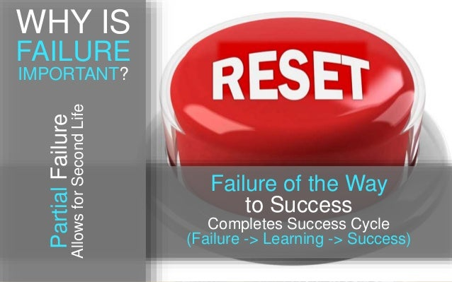 Failure of the Way to Success Completes Success Cycle (Failure -> Learning -> Success) PartialFailure AllowsforSecondLife ...