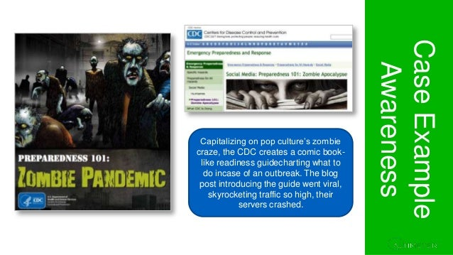 Section 1. Project Overview CaseExample Awareness Capitalizing on pop culture's zombie craze, the CDC creates a comic book...