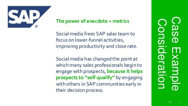Section 1. Project Overview CaseExample Consideration The power of anecdote + metrics Social media frees SAP sales team to...