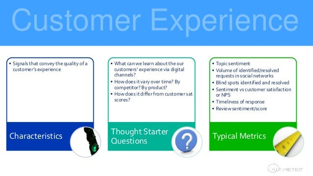 Customer Experience Stakeholder findings • Signals that convey the quality of a customer's experience Characteristics • Wh...