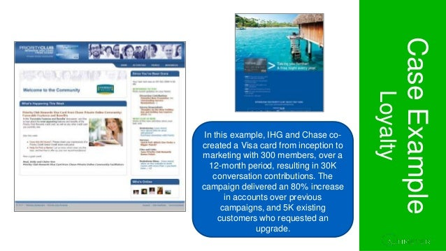 Section 1. Project Overview CaseExample Loyalty In this example, IHG and Chase co- created a Visa card from inception to m...