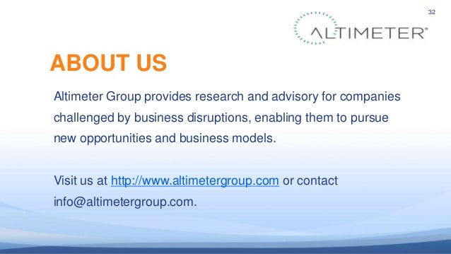32 Altimeter Group provides research and advisory for companies challenged by business disruptions, enabling them to pursu...