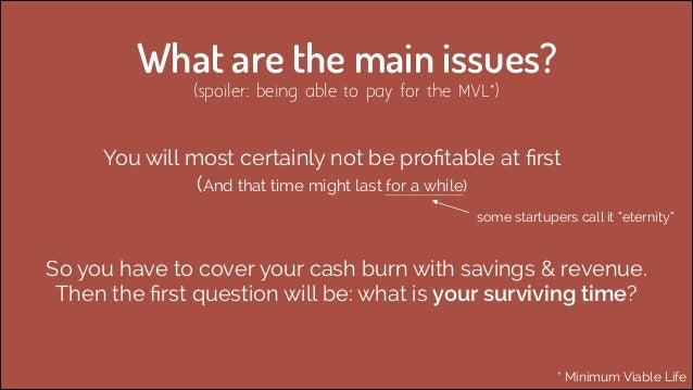 What are the main issues? (spoiler: being able to pay for the MVL*)  You will most certainly not be profitable at first  (A...