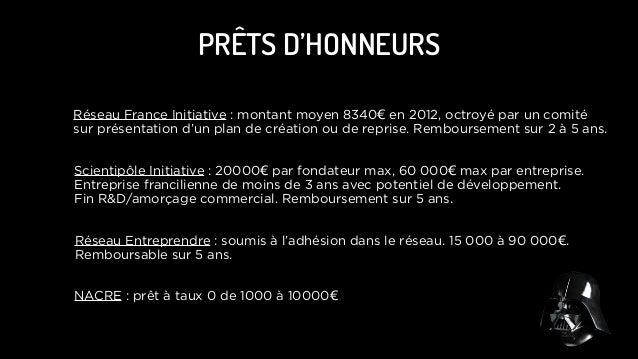 PRÊTS D'HONNEURS Réseau France Initiative : montant moyen 8340€ en 2012, octroyé par un comité sur présentation d'un plan ...