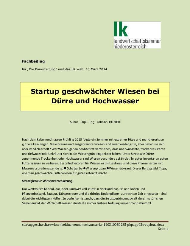 """startupgeschwchterwiesenbeiduerreundhochwasserkz-140310080235-phpapp02-reupload.docx Seite 1 Fachbeitrag für """"Die Bauerzei..."""