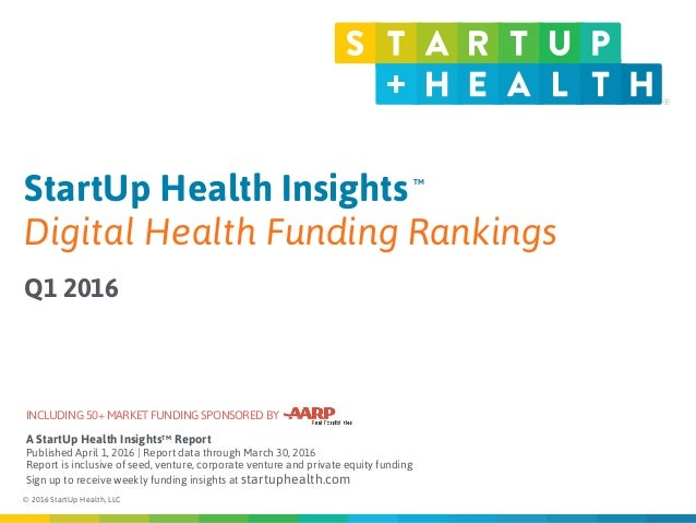 © 2016 StartUp Health, LLC Published: April 1, 2015 StartUp Health Insights Digital Health Funding Rankings Q1 2016 TM A S...
