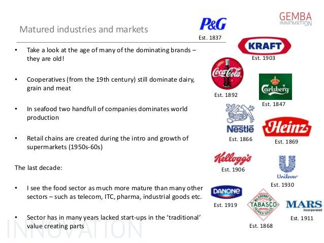 Matured industries and markets • Take a look at the age of many of the dominating brands – they are old! • Cooperatives (f...