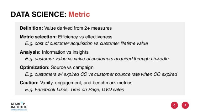 @MicahHerstand DATA SCIENCE: Metric Definition: Value derived from 2+ measures Metric selection: Efficiency vs effectivene...