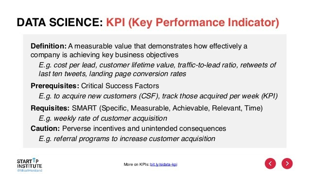 @MicahHerstand DATA SCIENCE: KPI (Key Performance Indicator) Definition: A measurable value that demonstrates how effectiv...