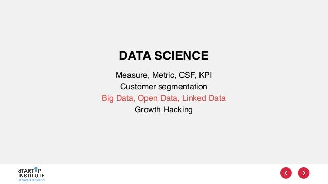 @MicahHerstand DATA SCIENCE Measure, Metric, CSF, KPI Customer segmentation Big Data, Open Data, Linked Data Growth Hacking