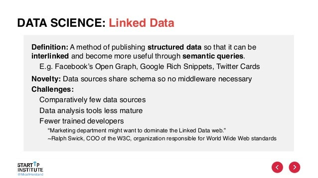 @MicahHerstand DATA SCIENCE: Linked Data Definition: A method of publishing structured data so that it can be interlinked ...