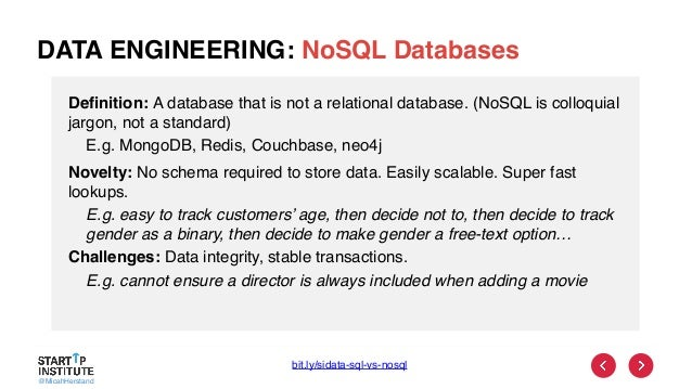 @MicahHerstand DATA ENGINEERING: NoSQL Databases Definition: A database that is not a relational database. (NoSQL is collo...