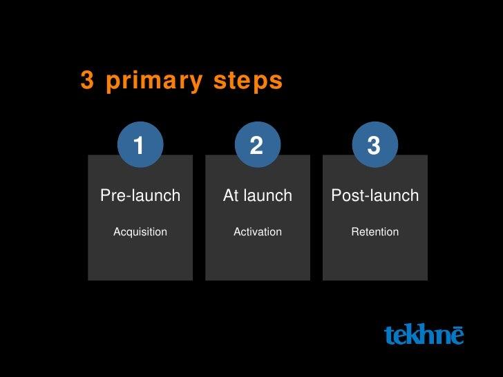 3 primary steps Pre-launch Acquisition 1 At launch Activation 2 Post-launch Retention 3
