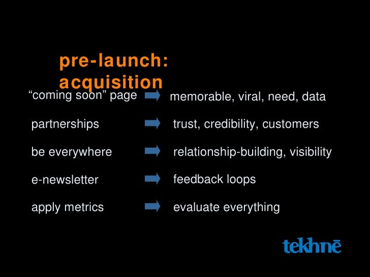 """pre-launch: acquisition """" coming soon"""" page memorable, viral, need, data partnerships trust, credibility, customers be eve..."""