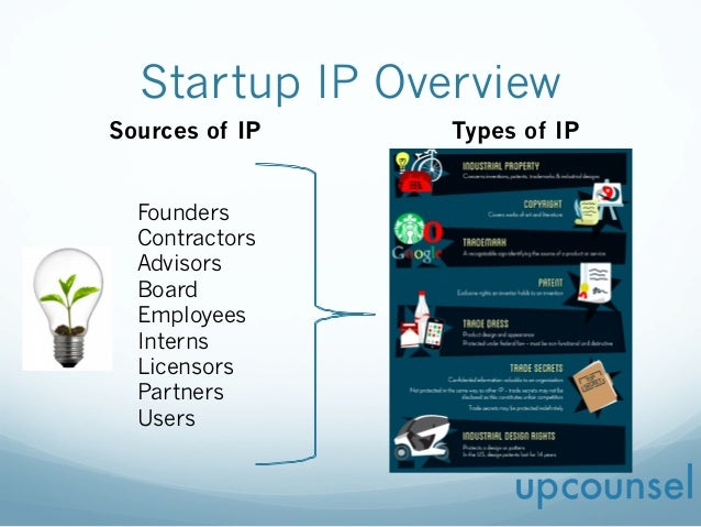 Startup IP Overview Sources of IP Types of IP Founders Contractors Advisors Board Employees Interns Licensors Partners Use...