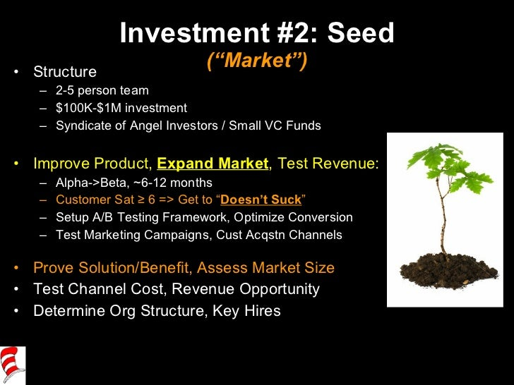 "Investment #2: Seed (""Market"") <ul><li>Structure </li></ul><ul><ul><li>2-5 person team </li></ul></ul><ul><ul><li>$100K-$1..."