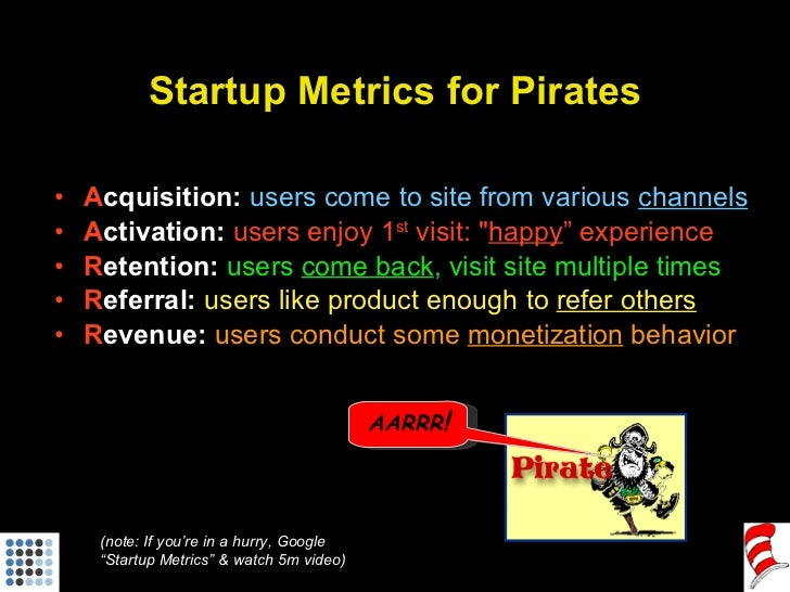 Startup Metrics for Pirates <ul><li>A cquisition:   users come to site from various  channels </li></ul><ul><li>A ctivatio...