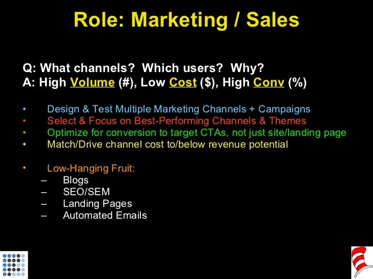 Role: Marketing / Sales <ul><li>Q: What channels?  Which users?  Why? </li></ul><ul><li>A: High  Volume  (#), Low  Cost  (...