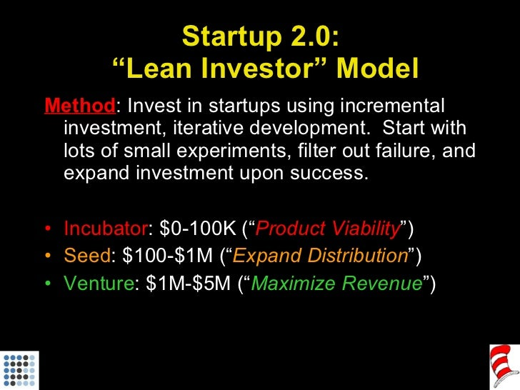 "Startup 2.0:  ""Lean Investor"" Model <ul><li>Method : Invest in startups using incremental investment, iterative developmen..."