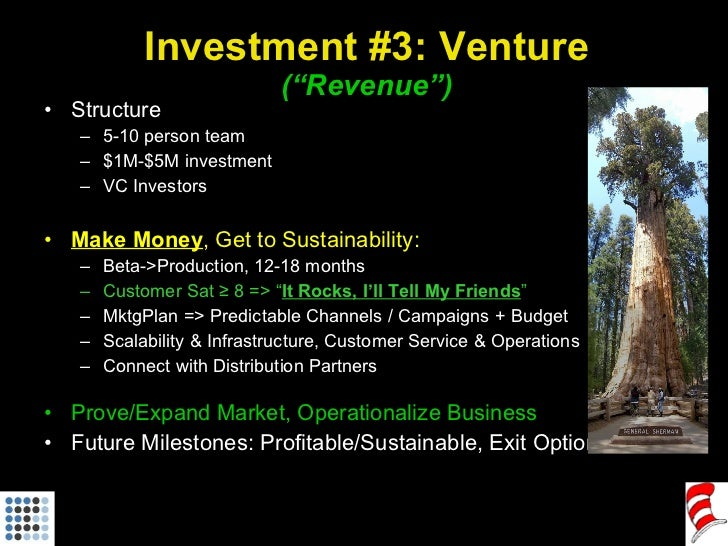 "Investment #3: Venture (""Revenue"") <ul><li>Structure </li></ul><ul><ul><li>5-10 person team </li></ul></ul><ul><ul><li>$1M..."