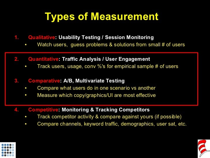 Types of Measurement <ul><li>Qualitative : Usability Testing / Session Monitoring </li></ul><ul><ul><li>Watch users,  gues...