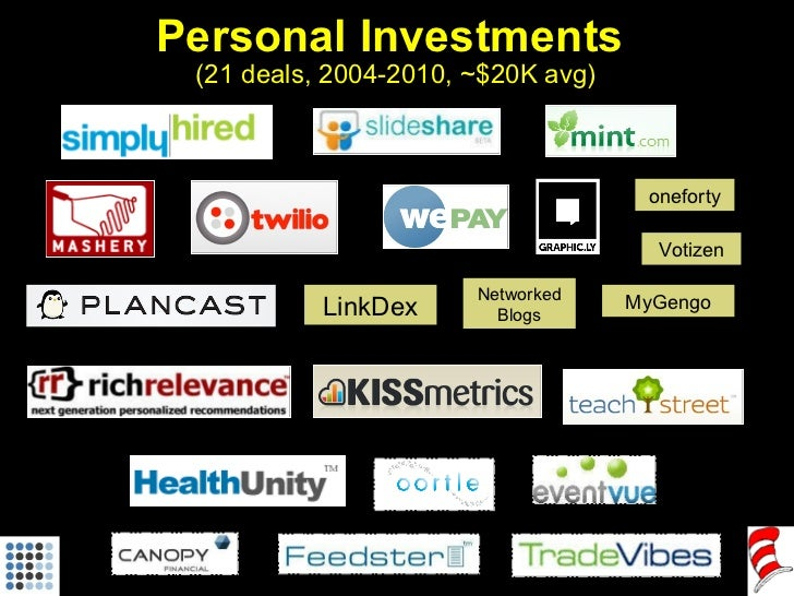 Personal Investments  (21 deals, 2004-2010, ~$20K avg) LinkDex oneforty Networked Blogs MyGengo Votizen