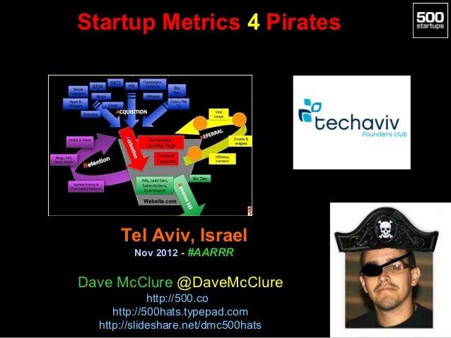 Startup Metrics 4 Pirates      Tel Aviv, Israel        Nov 2012 - #AARRRDave McClure @DaveMcClure             http://500.c...