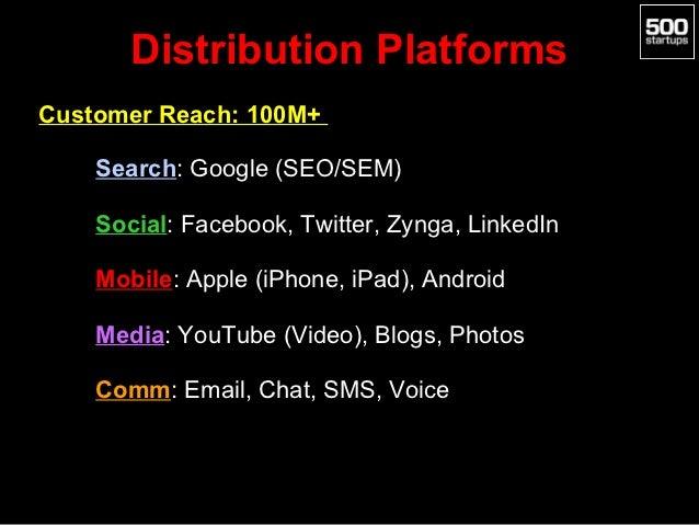 Distribution PlatformsCustomer Reach: 100M+  • Search: Google (SEO/SEM)  • Social: Facebook, Twitter, Zynga, LinkedIn  • M...