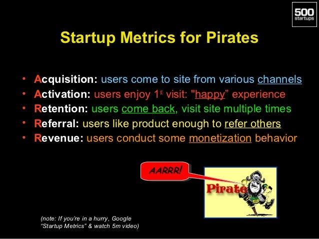 Startup Metrics for Pirates•   Acquisition: users come to site from various channels•   Activation: users enjoy 1st visit:...
