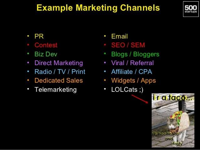 Example Marketing Channels•   PR                   •   Email•   Contest              •   SEO / SEM•   Biz Dev             ...