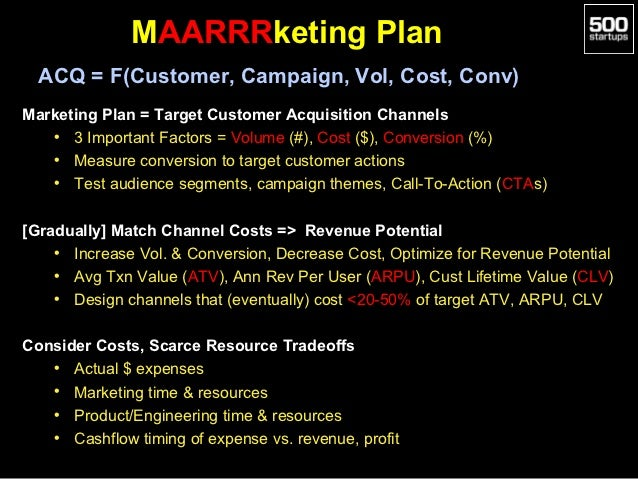 MAARRRketing Plan  ACQ = F(Customer, Campaign, Vol, Cost, Conv)Marketing Plan = Target Customer Acquisition Channels   • 3...