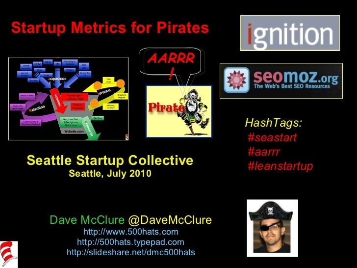 Startup Metrics for Pirates Seattle Startup Collective Seattle, July 2010 Dave McClure  @DaveMcClure http://www.500hats.co...