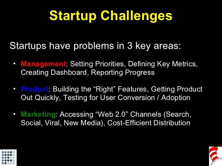Startup Challenges <ul><li>Startups have problems in 3 key areas: </li></ul><ul><ul><li>Management : Setting Priorities, D...