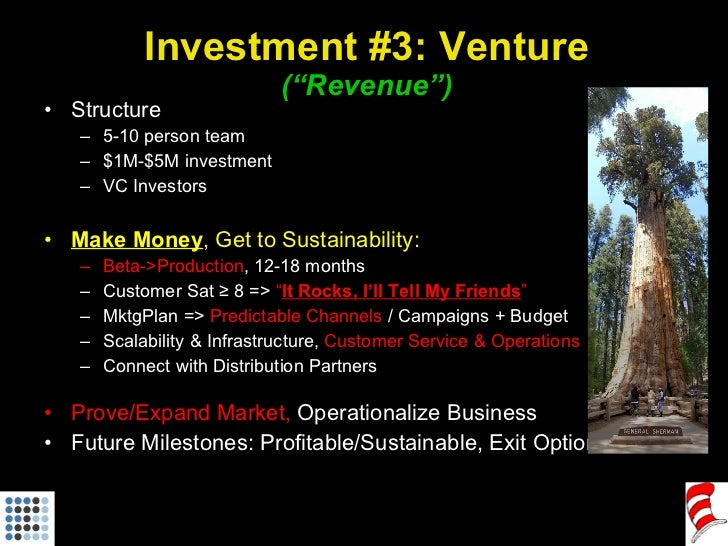 """Investment #3: Venture (""""Revenue"""") <ul><li>Structure </li></ul><ul><ul><li>5-10 person team </li></ul></ul><ul><ul><li>$1M..."""