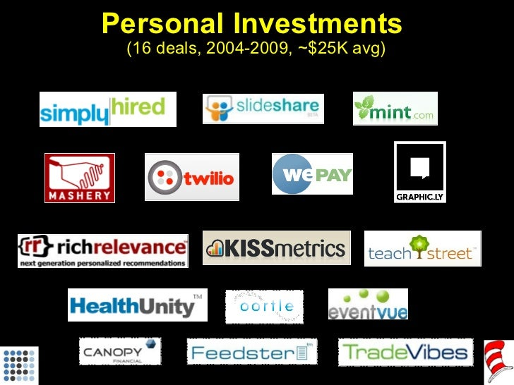 Personal Investments  (16 deals, 2004-2009, ~$25K avg)