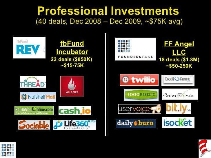 Professional Investments  (40 deals, Dec 2008 – Dec 2009, ~$75K avg) fbFund Incubator 22 deals ($850K)  ~$15-75K FF Angel ...