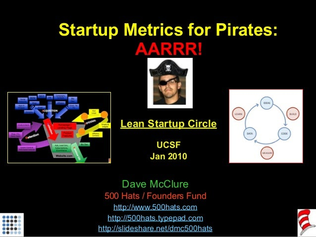 Startup Metrics for Pirates: AARRR! Lean Startup Circle UCSF Jan 2010 Dave McClure 500 Hats / Founders Fund http://www.500...