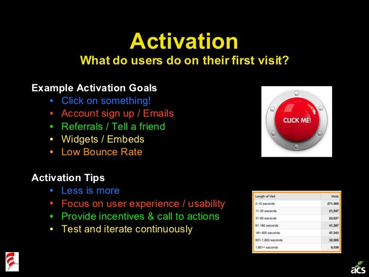 Activation What do users do on their first visit? <ul><li>Example Activation Goals </li></ul><ul><ul><li>Click on somethin...