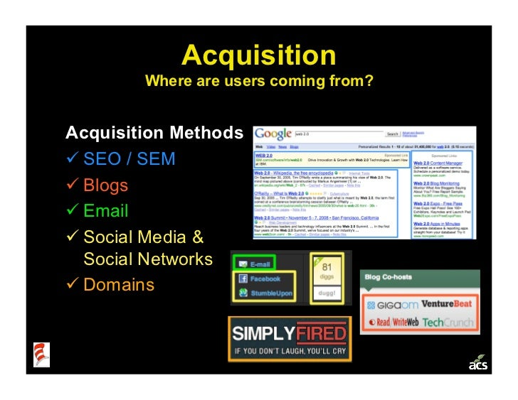 Acquisition         Where are users coming from?   Acquisition Methods SEO / SEM Blogs Email Social Media &   Soci...