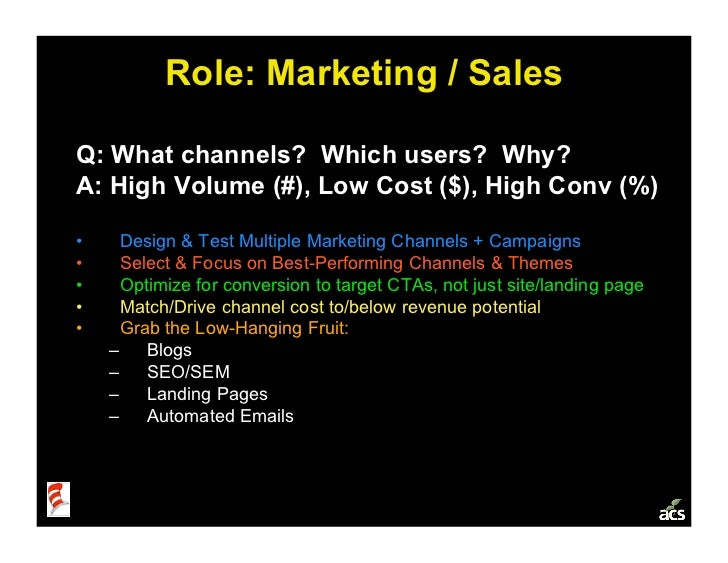 Role: Marketing / Sales  Q: What channels? Which users? Why? A: High Volume (#), Low Cost ($), High Conv (%)  •    Design...