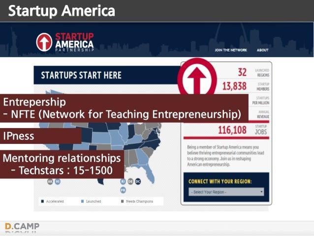 Startup America Mentoring relationships - Techstars : 15-1500 IPness Entrepership - NFTE (Network for Teaching Entrepreneu...