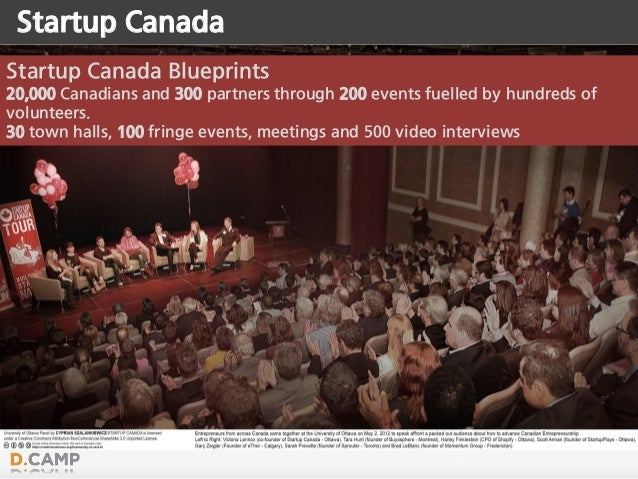 Startup Canada Blueprints 20,000 Canadians and 300 partners through 200 events fuelled by hundreds of volunteers. 30 town ...