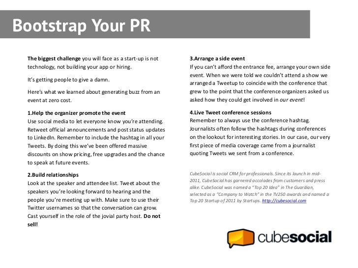 Follow up follow up with everyone you bootstrap your pr the biggest challenge you will face as a start up is not fandeluxe Choice Image